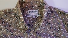 Columbia Sportswear Fish Pattern Mens Large Short Sleeves Cotton Shirt EUC