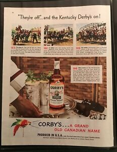 Kentucky Derby  Short History 1948 Corby's Whiskey  Print Ad