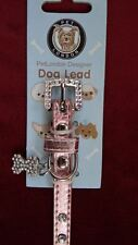 Pink Designer Rhinestone Dog Collar By Pet London Adjustable Small Size w/ Charm