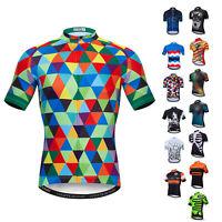Men's Cycling Jersey Short Sleeve Full Zip T-Shirt Bicycle Clothing Bike Tops