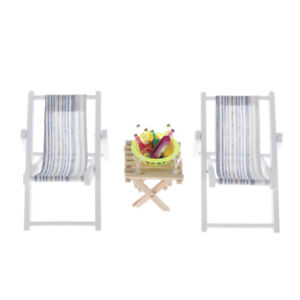 1:6 Dollhouse Miniature Table Striped Chairs with Wine Beach Set Outdoor B