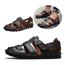 Men Footwear Orthopedic Form Natural Buffalo Leather Sandals Shoes Driving Comfy