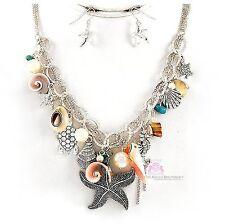 Pearl Seahorse Maui Starfish Shell Beach Turtle Ocean Charm Resort Necklace Set