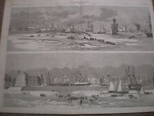Kronstadt in the ice Russia panoramas 1857 old prints ref AY