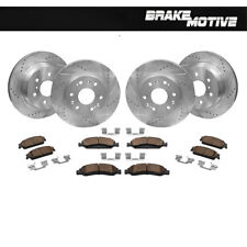 Front+Rear Drill Slot Brake Rotors And Ceramic Pads For Escalade Chevy Silverado