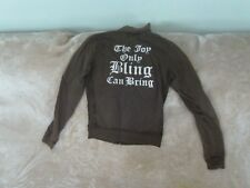 Womens Size 10 - Olive Zip-Up Sweatshirt - Juicy Couture - 'Joy Only Bling...'