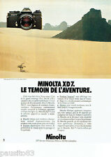 PUBLICITE ADVERTISING 1016  1980  Minolta appareil photo XD 7  Alain Sebe aventu