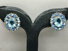 Vintage Aurora Borealis AB Blue Crystal Diamanté Clip Earrings