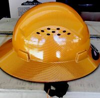 HDPE Natural Tan Full Brim Hard Hat with Fas-trac Suspension
