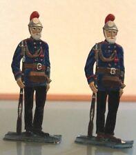 PIATTO PELTRO antico LOTTO DI 2 soldati bellissimo pittura metallico Altezza