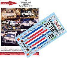 DECALS 1/24 REF 719 PEUGEOT 504 ASENSI RALLYE PARIS DAKAR 1980 RALLY