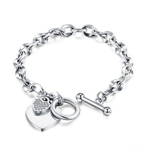 Edelstahl Damen Armband Herz Anhänger Zirkonia silber Bettelarmband Erbskette