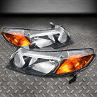 FOR 06-11 HONDA CIVIC SEDAN PAIR BLACK HOUSING AMBER CORNER HEADLIGHT HEAD LAMP