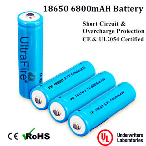 18650 6800mAh 3.7V Button Flat TOP Lithium Li-Ion Rechargeable Battery Torch
