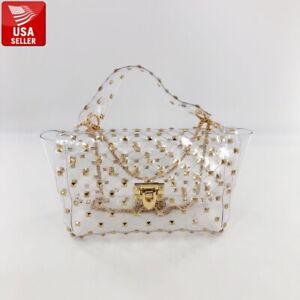 Beautiful Transparent PVC Clear Purse Tote Handbag Shoulder Bag Gold Chain Studs