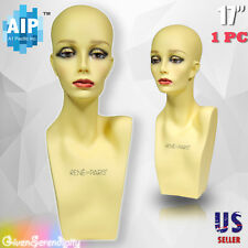 "Realistic Plastic Female Mannequin head lifesize display wig hat 17"" Ph-17"