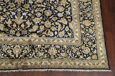 Vintage Floral Navy Blue Ardakan Area Rug Traditional Hand-Knotted 10x13 Carpet