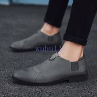 Men's Leisure Leather Flat Light Weight Solid Shoes Business Slip On Casual Shoe