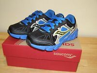 NEW Saucony Boys 11 XW Kotaro 2 Running Sneakers Shoe Black Blue Extra Wide