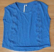 Lauren Conrad top small blue lace 100% linen cap sleeves scoop neckline shirt