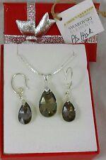 925 Silber set Ohrringe Anhänger Original Swarovski Kristallen Hook Iridescent A