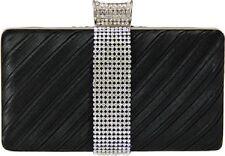New Jacki Design BLACK  Rectangle Evening Clutch Purse Rhinestone Prom Formal