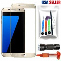 For Samsung Galaxy S7 Edge OEM Gold Front Screen Lens Glass Replacement Tool Kit