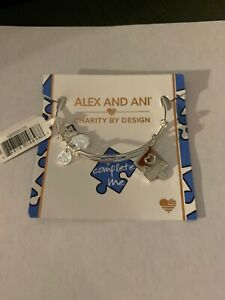 $38 Alex and Ani You Complete Me Charm Bangle in Shiny Silver Finish Z52