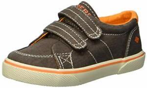 Sperry Boy's Halyard Hook & Loop Boat Canvas Shoes Brown Saltwash ( 10 M )