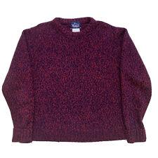 Vintage Medium Woolrich Navy Blue / Red Knit Crew Neck Wool Sweater Made USA