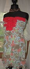 MUD PIE Women's Ruffle Strapless Top Red Blue Paisley Empire Mini Dress Med New