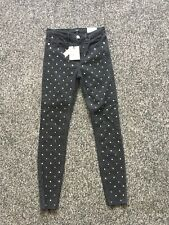 BNWT River Island Black Super Skinny Jeans Size 8 - Amelie Range Jewel Detail