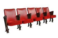 Fauteuils de salle de spectacle skaï rouge et fonte patinée