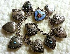 40's Vintage Sterling Silver Puffy Heart Charm Bracelet with 11 Chrms 7.5 Enamel