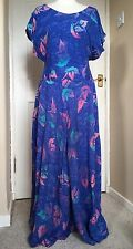 1980s Full Length Blue Dress - Neon Leaf Print - Water Bubble Effect - S M 10 12