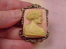 (CM45-8) UNUSUAL ART DECO Style LADY pink rectangle CAMEO Pin Pendant JEWELRY