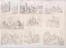 1850 Arti figurative Van Ostade, Dow, Hogart bulino