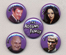 THE ADDAMS FAMILY Five badges buttons pin set -CLASSIC!