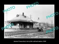 OLD LARGE HISTORIC PHOTO OF AMSTON CONNECTICUT, THE RAILROAD DEPOT c1940