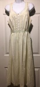 VTG Artemis Full Slip Women 40 Regular  Ivory Cotton&Lace Gown Satin Blue Ribbon