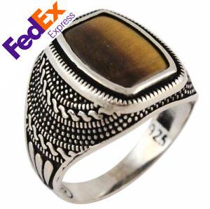 Tiger's Eye Stone 925 Sterling Silver Turkish Handmade Luxury Men's Ring AllSize