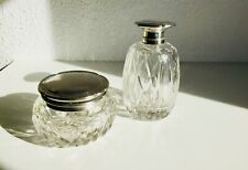 Antique Crystal & Silver Vanity Dress Boudoir Jars Perfume Cologne Powder French