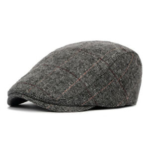 Men Newsboy Ivy Flat Cap Tweed Hat Gatsby Baker Boy Cabbie Peaky Blinders Beret