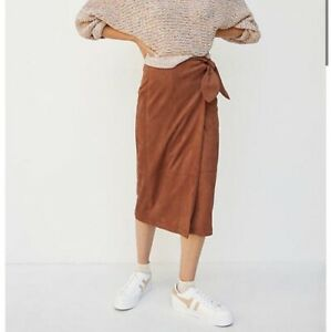 Brand new with tags Anthropologie Brown size XS suede wrap skirt