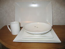 MIKASA *NEW* STONE GLAZE WHITE Set 2 assiettes +chope+coupe+plat Set 2 plates
