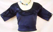 Azul marino Velvet top de la blusa camisa Sari Mujeres Mujeres Mujer para #G3QE8