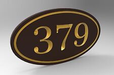 House Number Sign With Oval Frame and Gold Numbers Personalized.