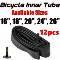 "12x Inner Bike Tube Bicycle Rubber Tire BMX Schrader Valve 16"" 18"" 20"" 24"" 26"""