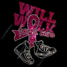 "Rhinestone Transfer "" Will Walk for a Cure "" Cancer Ribbon Iron-on, Hotfix"