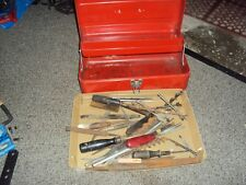 LARGE LOT Antique Vintage Files wood handles drill bits with tool box